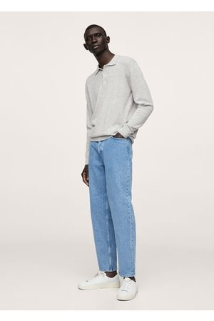 MANGO Men Polo Shirts - Long-sleeved wool knit polo shirt