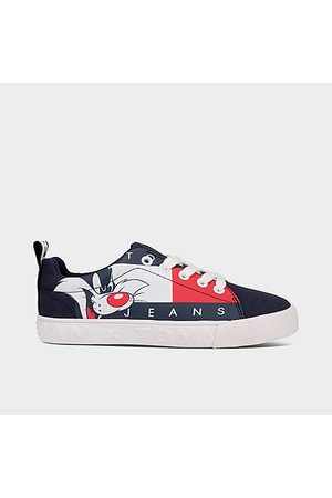 Tommy Hilfiger Casual Shoes - Big Kids' X Space Jam Sylvester™ Vulc Casual Shoes in Black/Navy Size 4.0 Cotton/Polyester