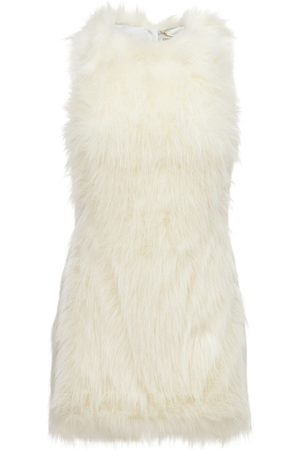 Saint Laurent Sleeveless Feathered Mini Dress
