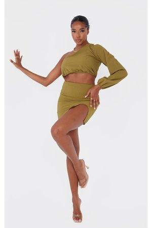 PRETTYLITTLETHING Women Party Dresses - Olive Textured Woven Split Leg Mini Skirt