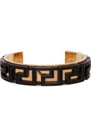 VERSACE Men Bracelets - Black & Gold Greca Cuff Bracelet