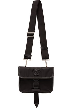 VERSACE Men Luggage - Black Nylon Small 'La Medusa' Messenger Bag