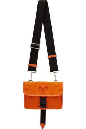 VERSACE Men Luggage - Orange Small 'La Medusa' Messenger Bag