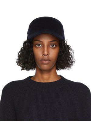 Loro Piana Women Caps - Navy Cashmere Baseball Cap