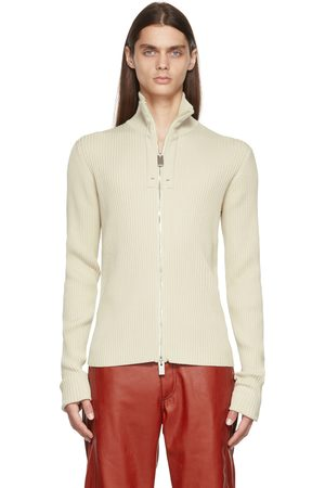 1017 ALYX 9SM Beige Ribbed Knit Zip-Up Sweater