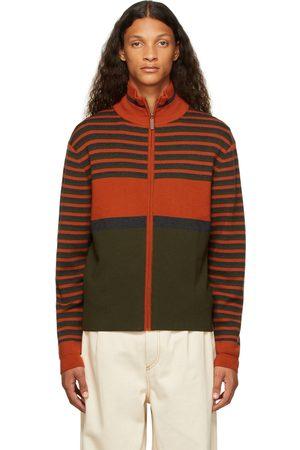 WALES BONNER Orange & Green George Zip-Up Sweater