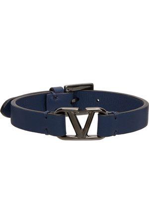 VALENTINO GARAVANI Men Bracelets - Blue Leather VLogo Bracelet