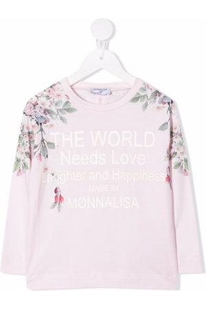 MONNALISA Girls Long Sleeve - Long-sleeved slogan logo top