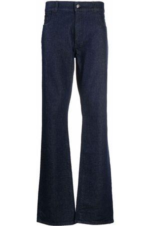 BILLIONAIRE Men Straight - Leather logo-patch straight-leg jeans
