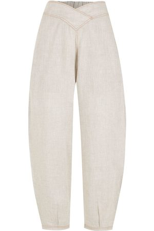 Piu Women Pants - Elasticated-waist cropped tapered trousers - Neutrals