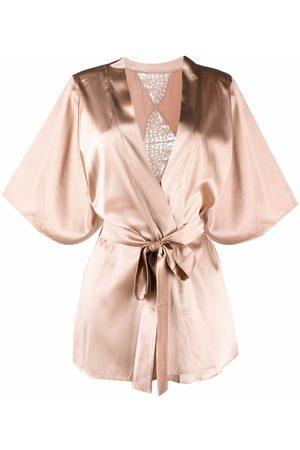 Fleur of England Marlena lace-detail satin robe - Neutrals