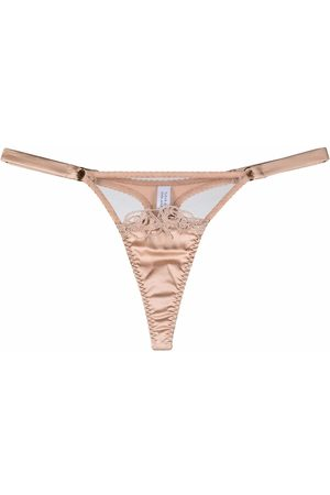 Fleur of England Women Thongs - Marlena embroidered thong - Neutrals