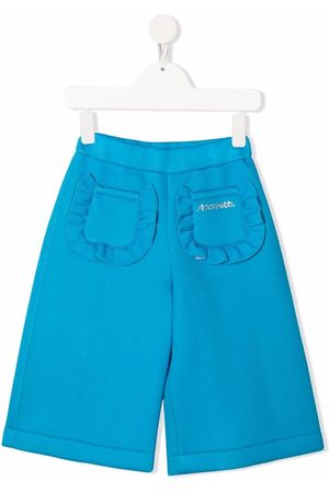 Simonetta Girls Shorts - Ruffled-pockets knee-length shorts