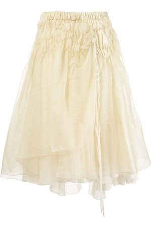 RENLI SU Women Midi Skirts - Shirred asymmetrical midi skirt - Neutrals