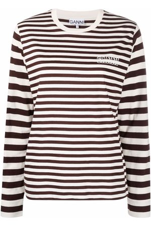 Ganni Logo-printed striped long-sleeved T-shirt