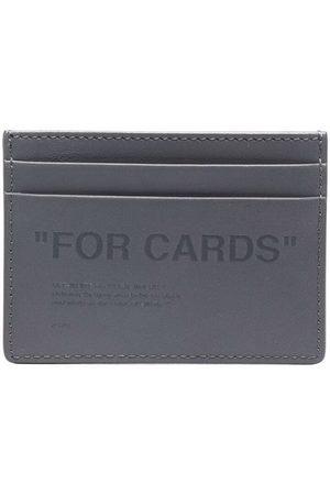 OFF-WHITE Slogan-embossed slim cardholder - Grey
