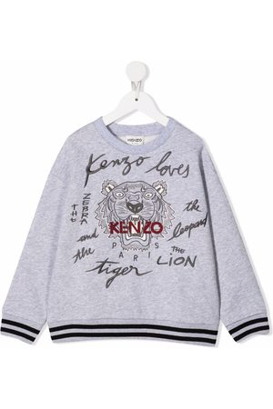 Kenzo Boys Hoodies - Tiger head print sweatshirt - Grey