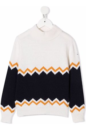FAY KIDS Boys Sweaters - Chevron stripe colour block jumper - Neutrals