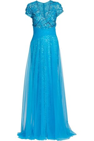 Pamella Roland Sequin-Embroidered Tulle & Lace Gown