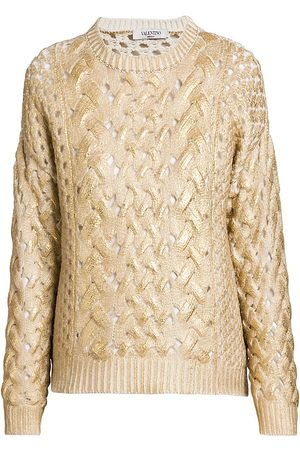 VALENTINO Coated Cable Knit Sweater