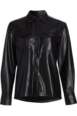 GOOD AMERICAN Faux Leather Utility Shirt
