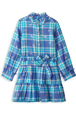 Hatley Little Girl's & Girl's Shimmer Unicorns Plaid Shirtdress