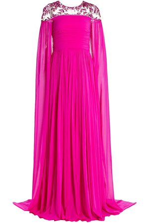 Pamella Roland Crystal-Embellished Cape Gown