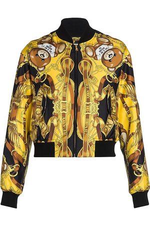 Moschino Bear Logo Silk Bomber Jacket