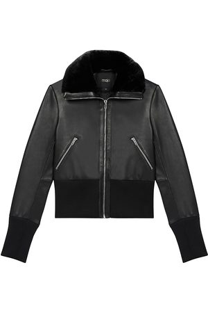 Maje Ribbed-Trim Leather Jacket