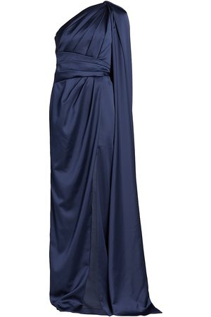Pamella Roland One-Shoulder Satin Gown