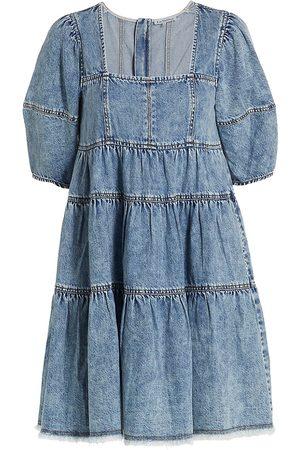 En Saison Cotton Denim Babydoll Minidress