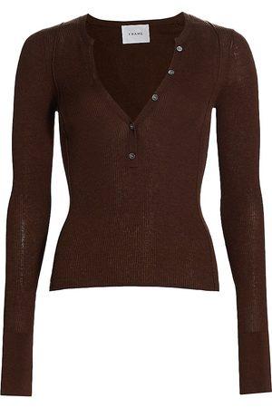 Frame Rib-Knit Henley Sweater