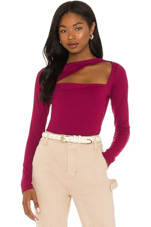 Susana Monaco Angle Cut Out Long Sleeve Top in Wine.