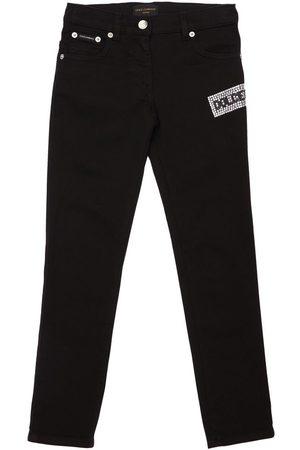 Dolce & Gabbana Embellished Logo Denim Cotton Jeans