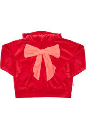 BILLIEBLUSH Bow Print Velvet Sweatshirt Hoodie