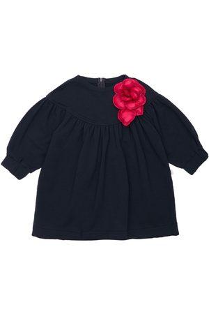 Il gufo Cotton Sweat Dress W/ Flower Appliqué