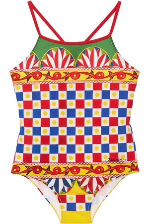 Dolce & Gabbana Girls Swimsuits - All Over Print Lycra One Piece Swimsuit