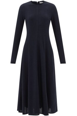 Three Graces London Women Dresses - Lottie Bouclé Flared Longline Dress - Womens - Navy