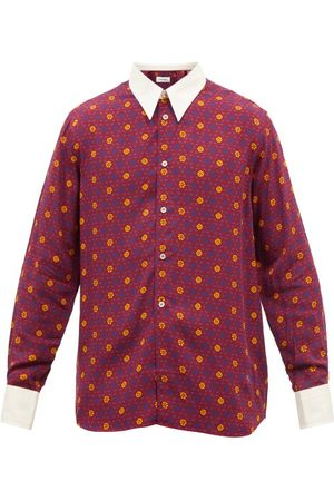 WALES BONNER Contrast-collar Floral-print Shirt - Mens