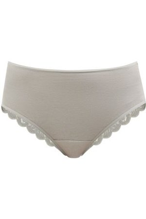 Hanro Moments Lace And Cotton-blend Jersey Briefs - Womens - Grey