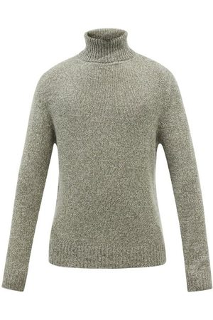 Allude Marled-cashmere Roll-neck Sweater - Mens - Khaki