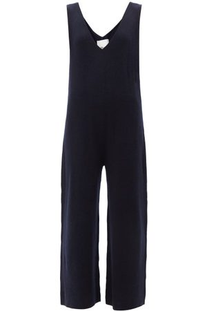 Allude V-neck Wool-blend Jumpsuit - Womens - Navy
