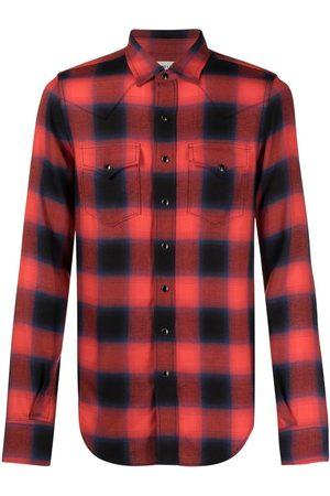 Saint Laurent Men Long sleeves - Check-print long-sleeve shirt