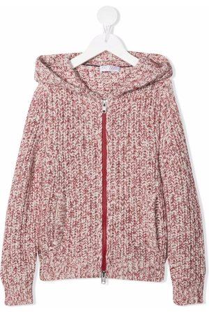 Brunello Cucinelli Kids Boys Hoodies - Knitted zip-up hoodie