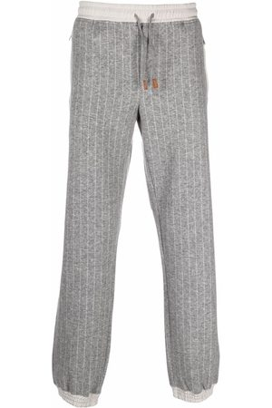 Eleventy Striped knitted track pants - Grey