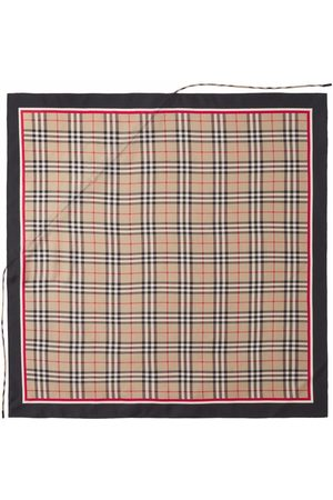 Burberry Scarves - Drawcord Detail Vintage Check Silk Square Scarf - Neutrals
