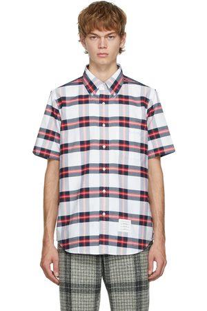 Thom Browne White & Red Tartan Check Short Sleeve Shirt