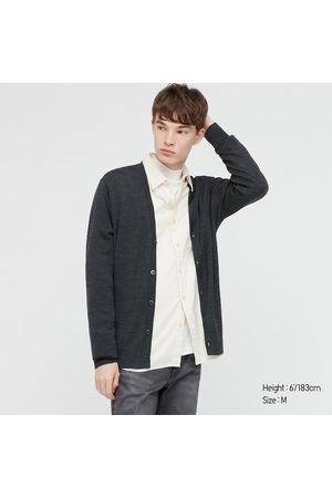 UNIQLO Men Long sleeves - Men's Extra Fine Merino V-Neck Long-Sleeve Cardigan, Gray, XXS