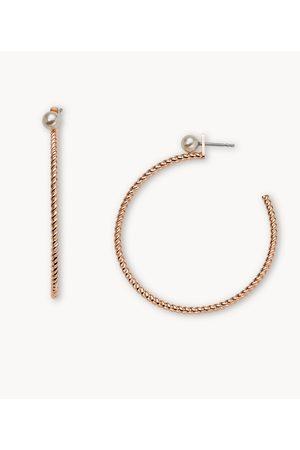 Womens Women Earrings - Fossil Women's -Tone Stainless Steel Hoop Earrings