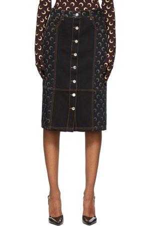Marine Serre Black & Navy Denim Regenerated Moon Skirt